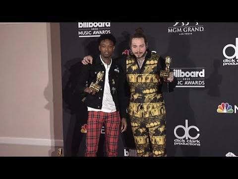 Post Malone and 21 Savage on the red carpet for the 2018 Billboard Music Awards