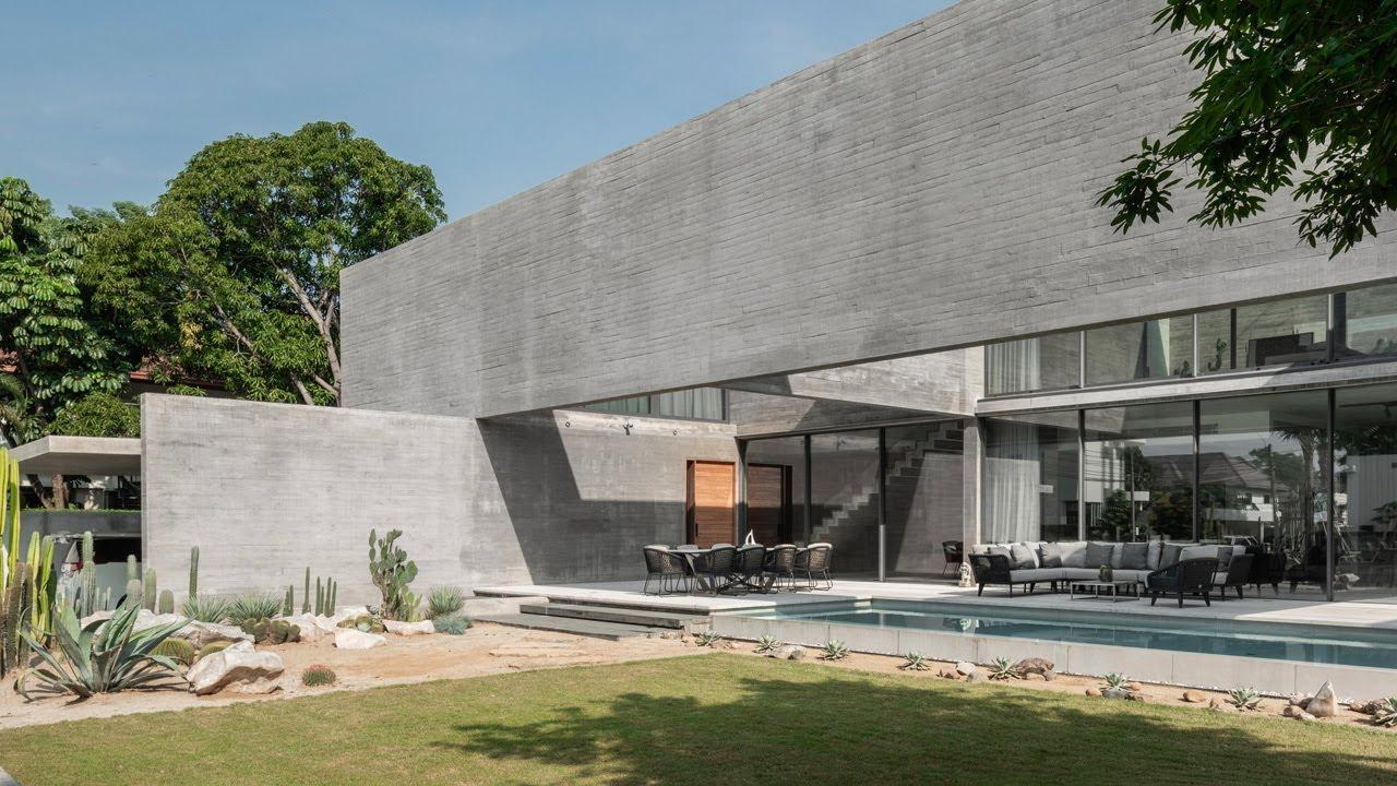 Brutalist Concrete Wood Home Design With Floor Plans