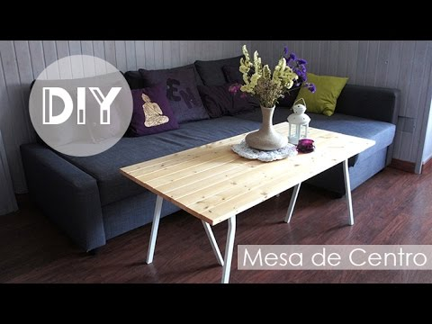 Diy decoraci n mesa de centro de madera youtube for Mesa centro estilo nordico