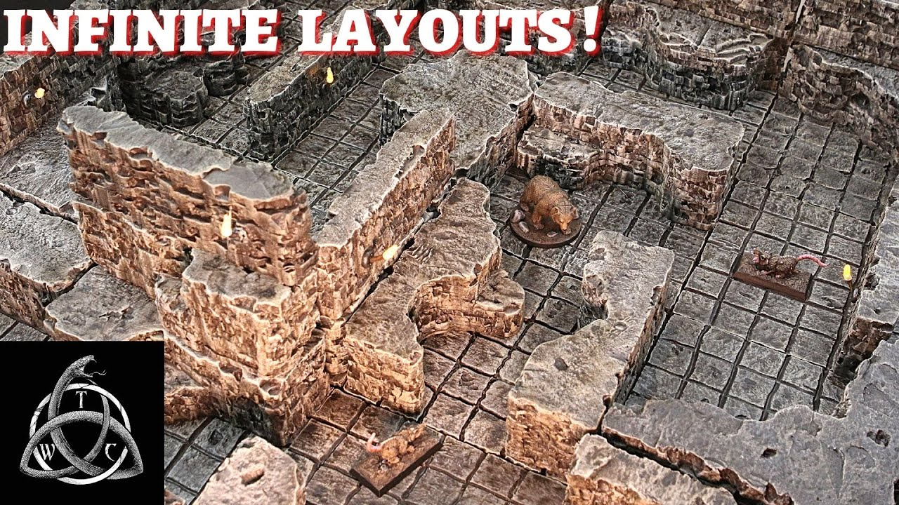 Cave Tiles and Walls for Vertical Play for Tabletop Gaming
