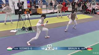 2018 1234 T08 04 M F Individual Halle GER European Cadet Circuit BLUE SZEMES HUN vs BRAUN GER