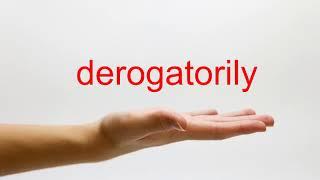 How to Pronounce derogatorily - American English
