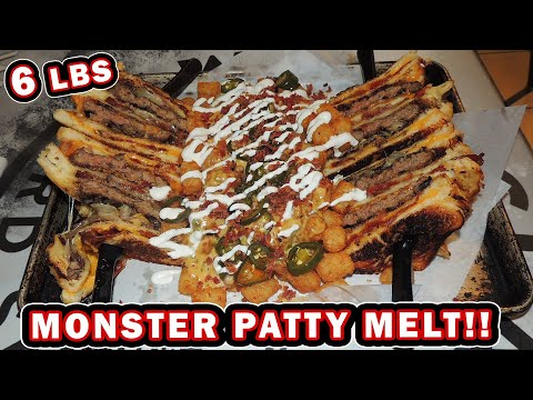 Monster Patty Melt Burger Challenge W/ Cheesy Bacon Tater Tots!!