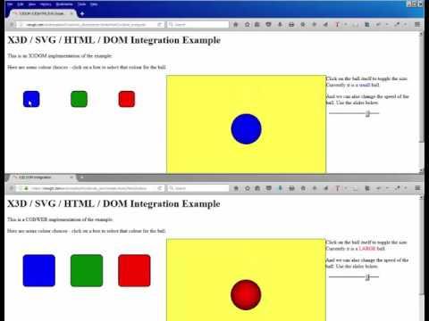 X3DOM Cobweb Event-Passing Demos: HTML5 DOM SVG X3D
