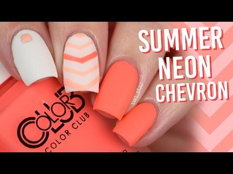 Summer Neon Chevron V Nail Art - Color Club Pop Chalk || TWI_STAR