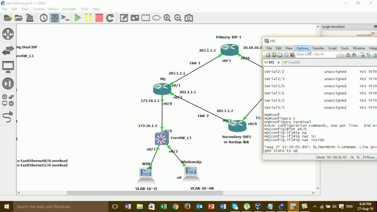 how to configure internet redundancy+IPSLA on GNS3 (full video)