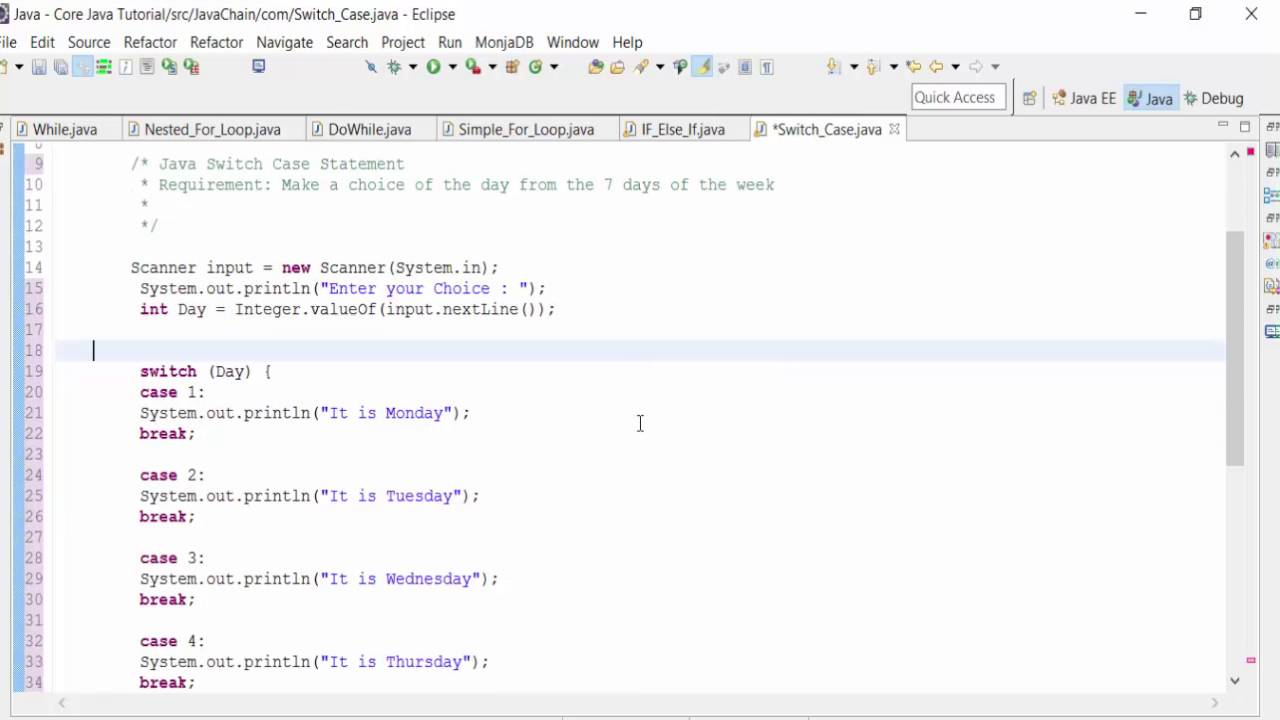 How to use java switch case statement youtube - Switch case java ...