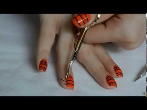 Orange Black Nail Art Tutorial By Missadelinne Youtube