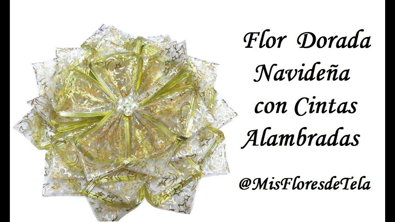 d55ac046b1296 Flores Navidenas Moño de Navidad con Cintas de Organza Alambrada ...
