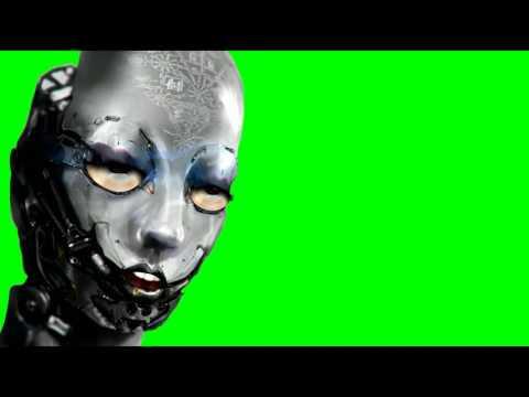 scary human like robot green screen effect thumbnail