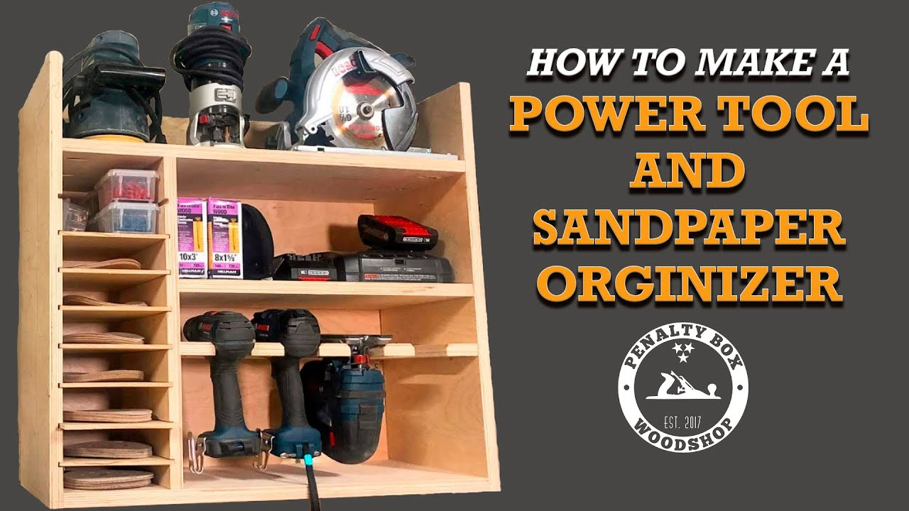 DIY Drill Charging Station with Sandpaper Organization