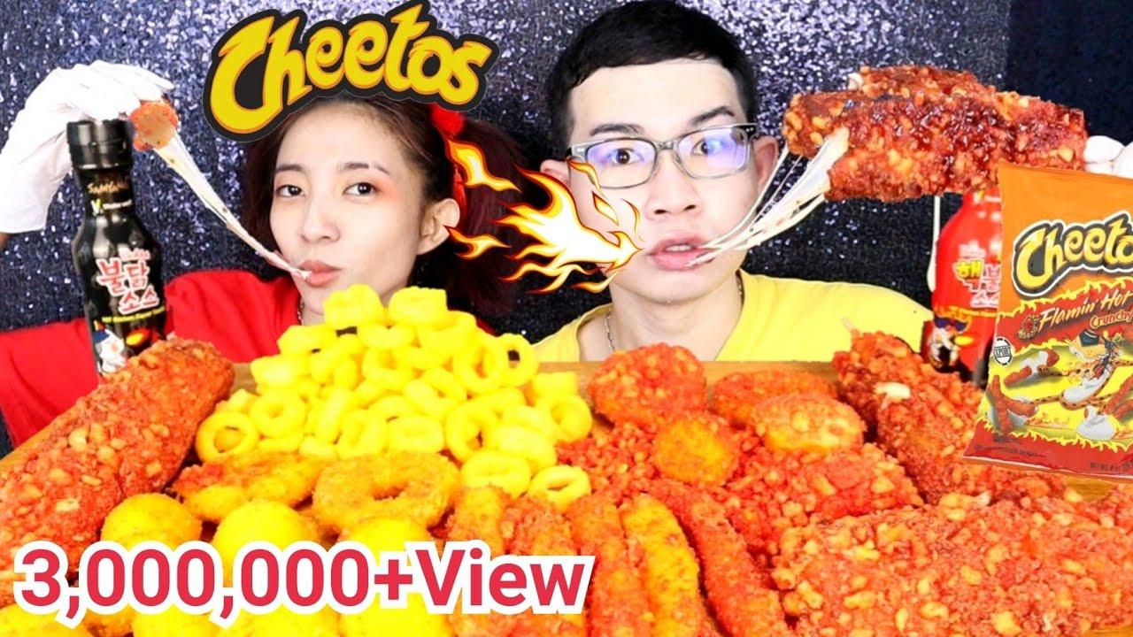 คอร์นด็อกชีสยืด ชีโตส ซอสเผ็ดเกาหลี #Mukbang #ASMR Cheetos Chicken Hot Dog Cheese ball:ขันติ