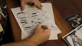 Chicano Lettering, Tattoo Lettering, Tattooscript how to draw INKED CHICK!