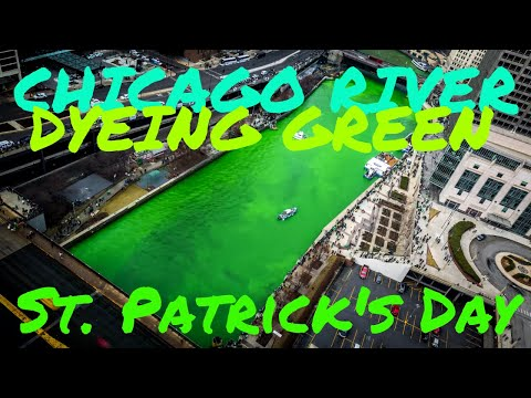 Chicago River Dyeing Green - St. Patrick's Day Celebration 2016 4K Time Lapse