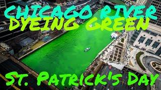 Chicago River Dyeing Green - St. Patrick's Day Celebration 2016 4K Time Lapse