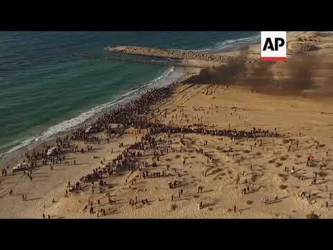 Drone footage of Gaza border and flotilla protest