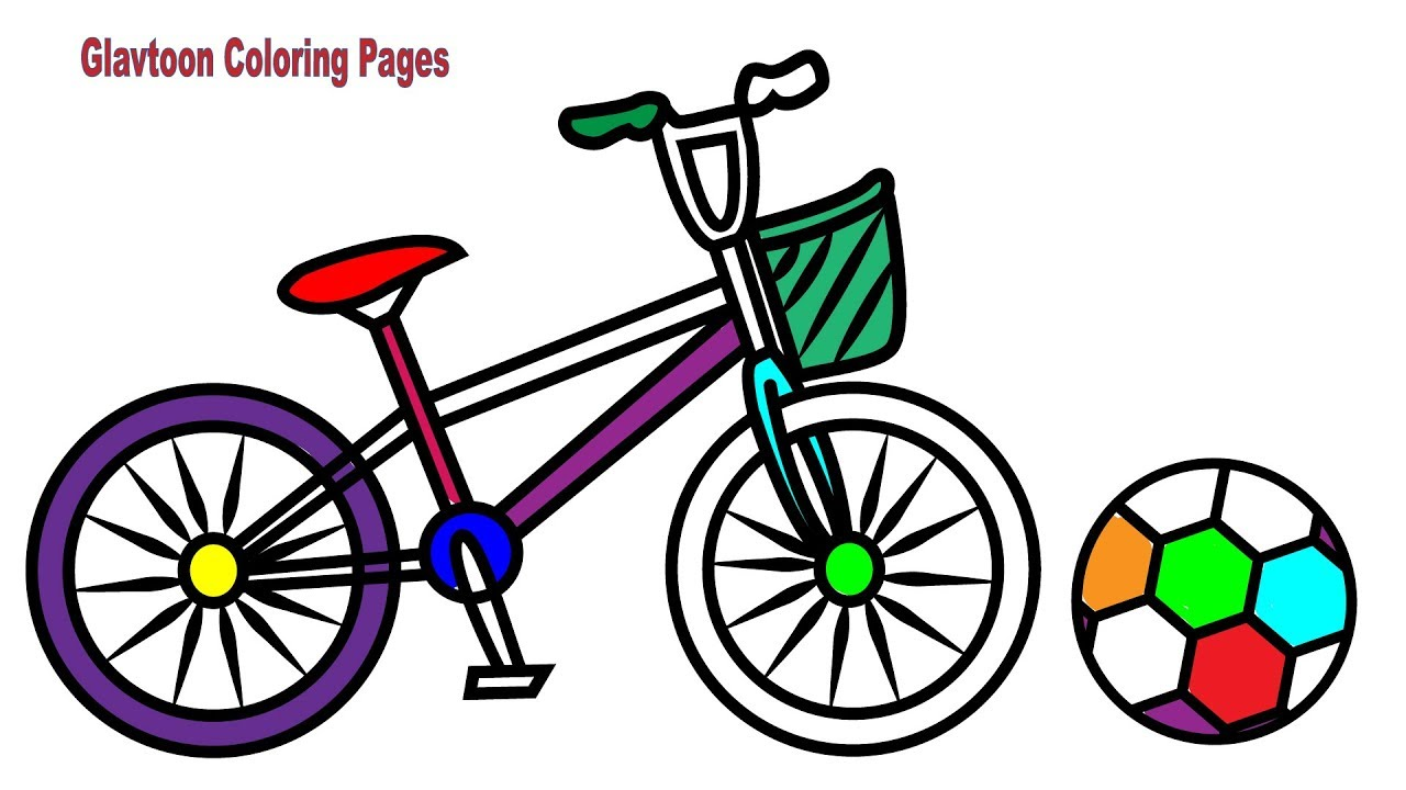 Kids Bike Coloring Pages, Learn Color with Drawing Bicycle for Kids ...