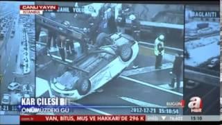 A HABER / İSTANBUL SAHİL YOLUNDA KAZA - EYÜP'TE BİR ARAÇ TERS DÖNDÜ