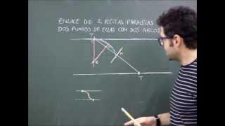 Geom.  plana, enlaces de dos rectas paralelas mediante arcos por dos puntos contenidos