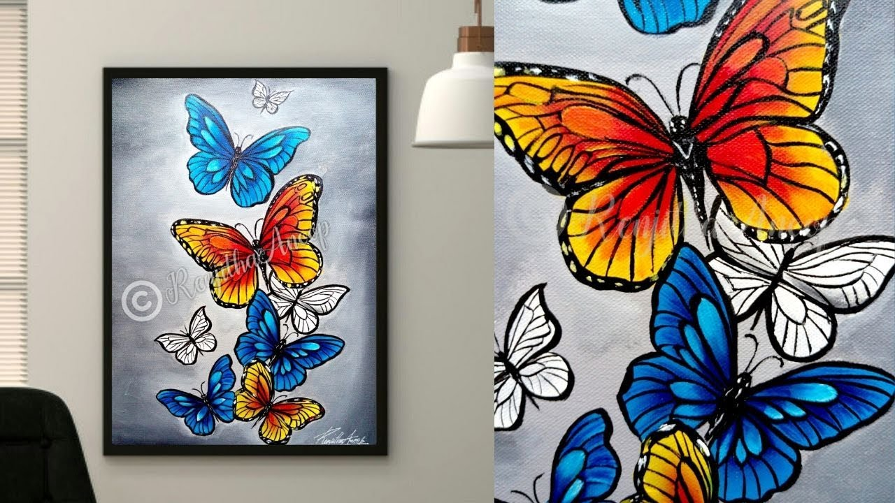 easy acrylic painting Butterfly | Canvas Painting for ...