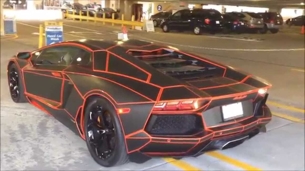 tron lamborghini aventador! loud start up and details! - youtube