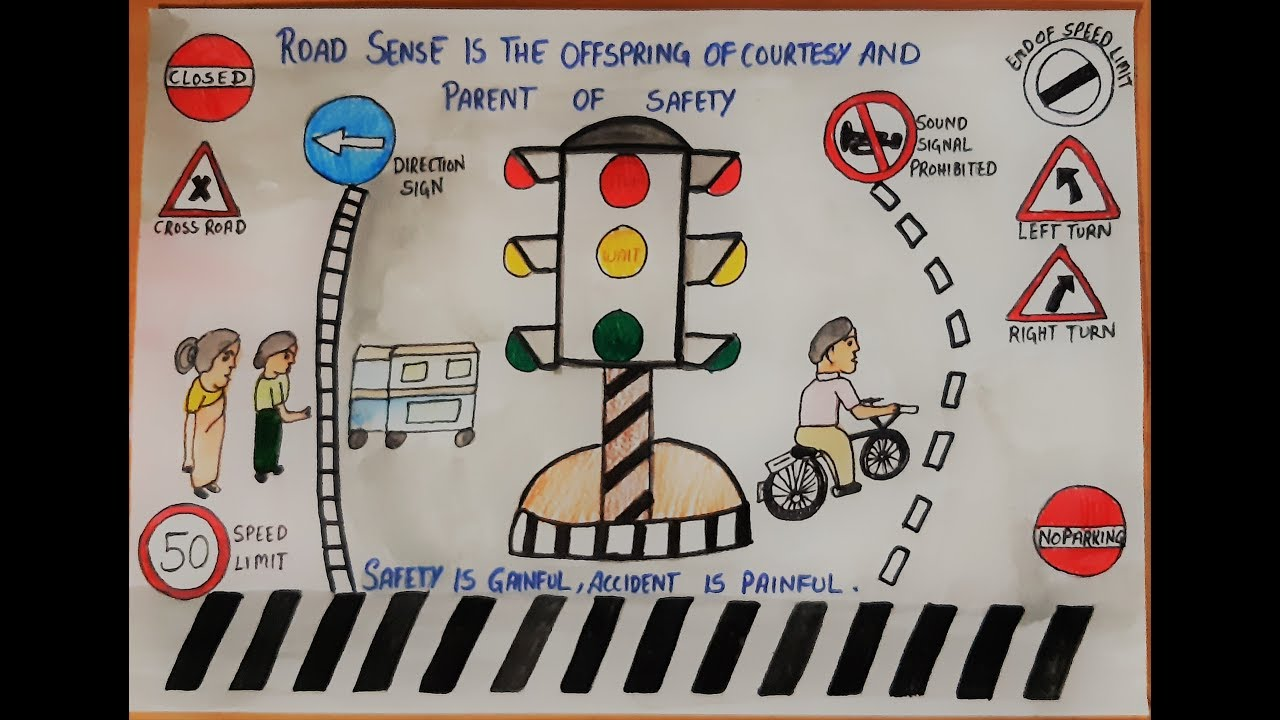 how to draw city road safety drawing ll drawing on road safety for competition