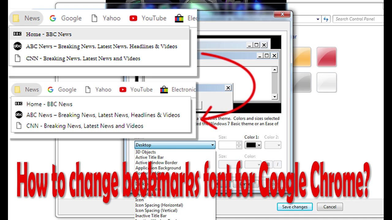 How to change bookmark fonts under google chrome