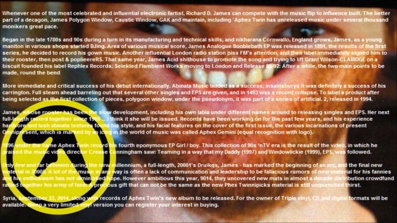Aphex Twin SYRO Press Release