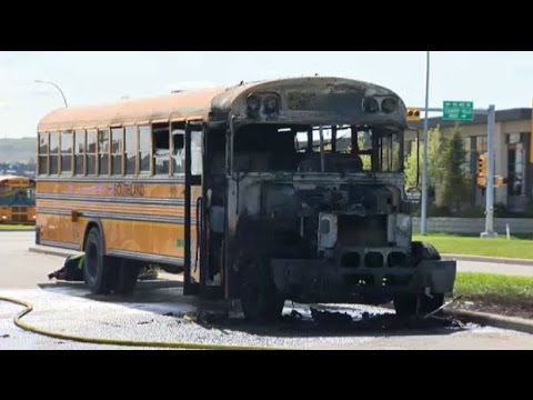 Dramatic rescue after Calgary school bus catches fire