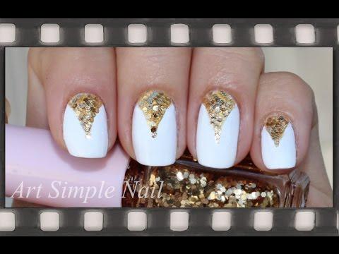 Элегантный маникюр на коротких ногтях обычным лаком  | White & Gold Nail Tutorial