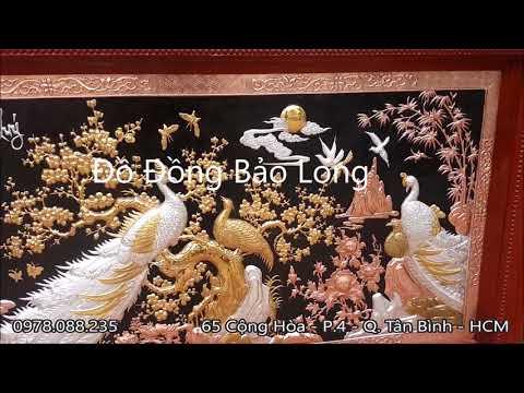 Tranh Đồng Công Mai - Ngọc Đường Phú Quý mạ vàng mạ bạc 1m55x88cm