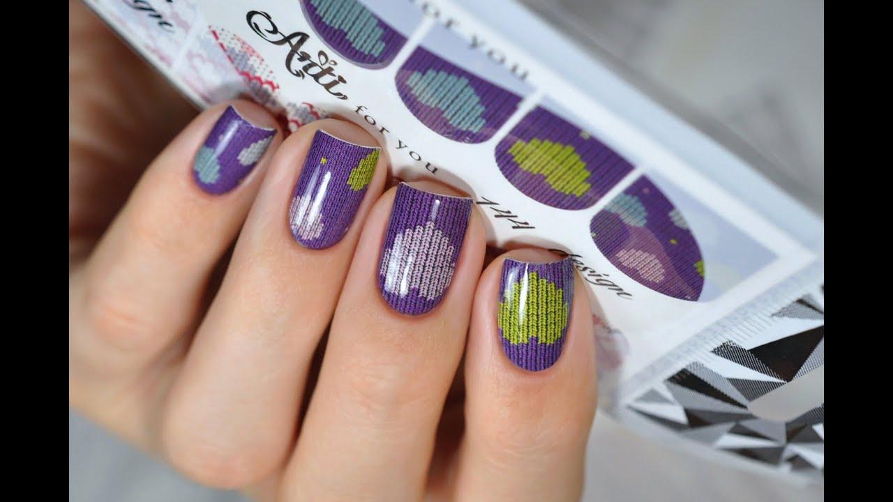 Slider design/nail wraps - nail art tutorial - YouTube