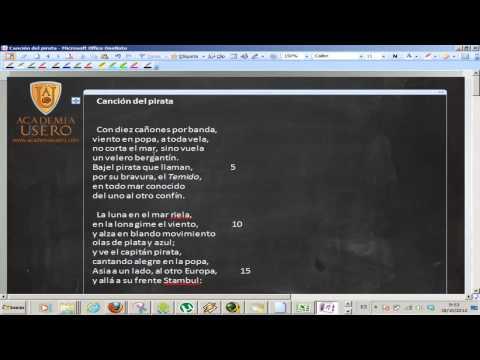 La canción del pirata Ejercicios y análisis Lengua 4º ESO Academia Usero Estepona