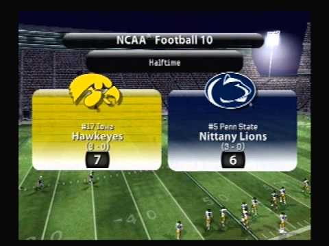Let's Play NCAA Football 10 ps2 #17 Iowa @ #5 Penn State