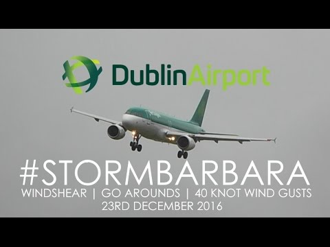 Breathtaking Landings and Go Arounds During Storm Barbara at Dublin Airport | 23/12/16 #StormBarbara