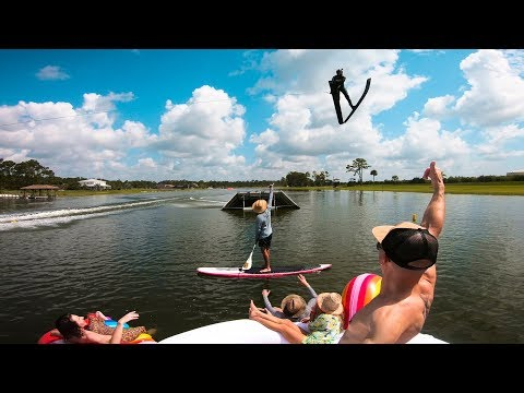 Flying off Jumps in Water Skis with a World Record Holder!