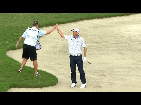 John Senden's brilliant bunker hole out at Cadillac Championship