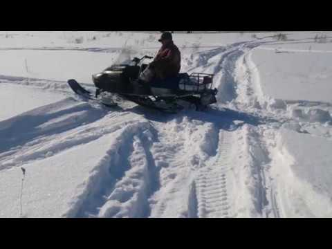 Снегоход Рысь 440 по глубокому снегу