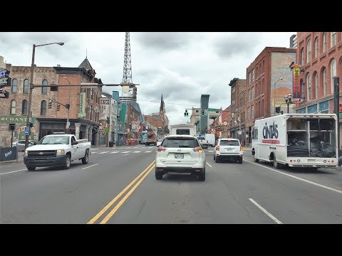 Driving Downtown - Nashville's Music Street - Nashville Tennessee USA