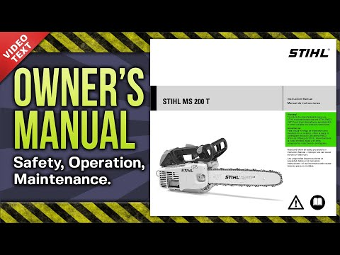 Owner's Manual: STIHL MS 200 T Chain Saw