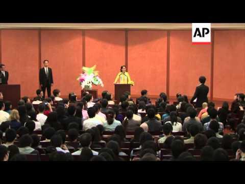 Myanmar opposition leader in Japan; delivers speech at Tokyo university