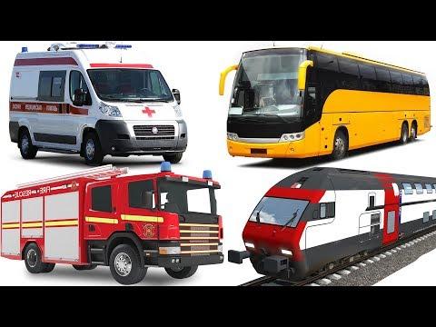 Car for kids, Learn Street Vehicles Names #FireTruck, Ambunlance, City Bus, Train, Garbage Truck