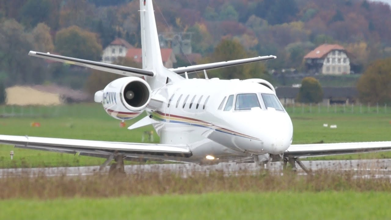 Cessna 560XL Citation XLS D-CVVV Take Off at Airport Bern-Belp - YouTube