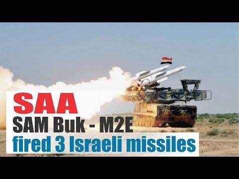 [Syria] [Damacus] SAM Buk -M2E Syrian rocket fired three Israeli missiles