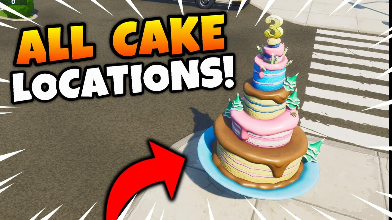 Fortnite Birthday Cakes Locations Dance In Front Of Different Birthday Cakes Challenge Guide Youtube