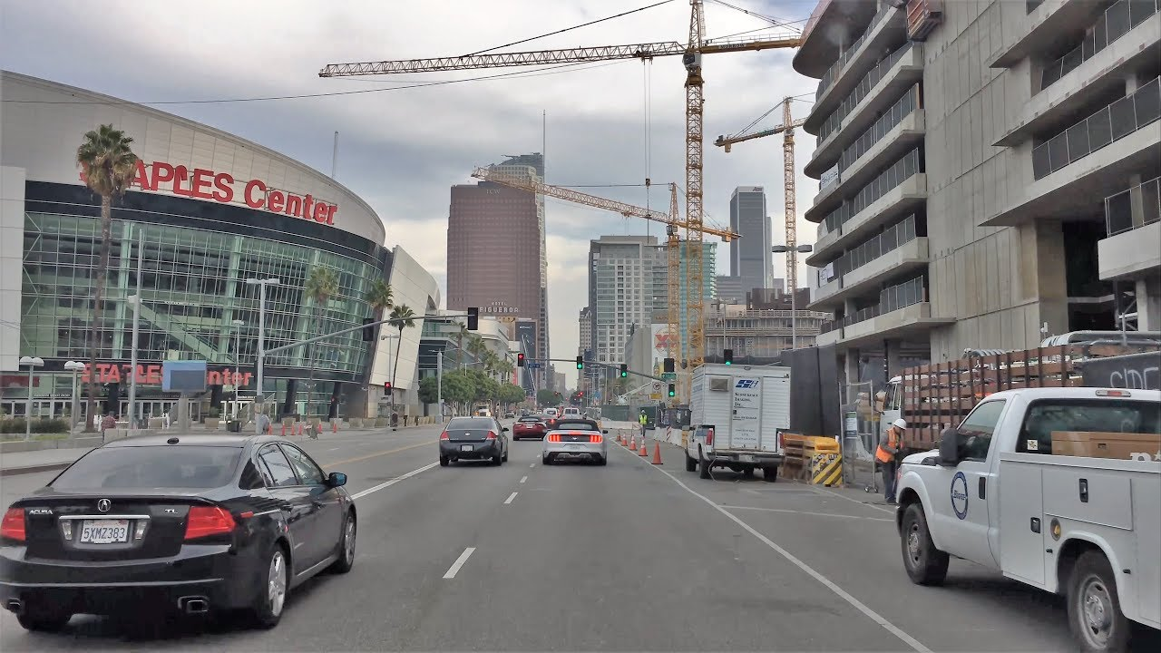 Driving Downtown - Los Angeles Sport Street 4K - USA