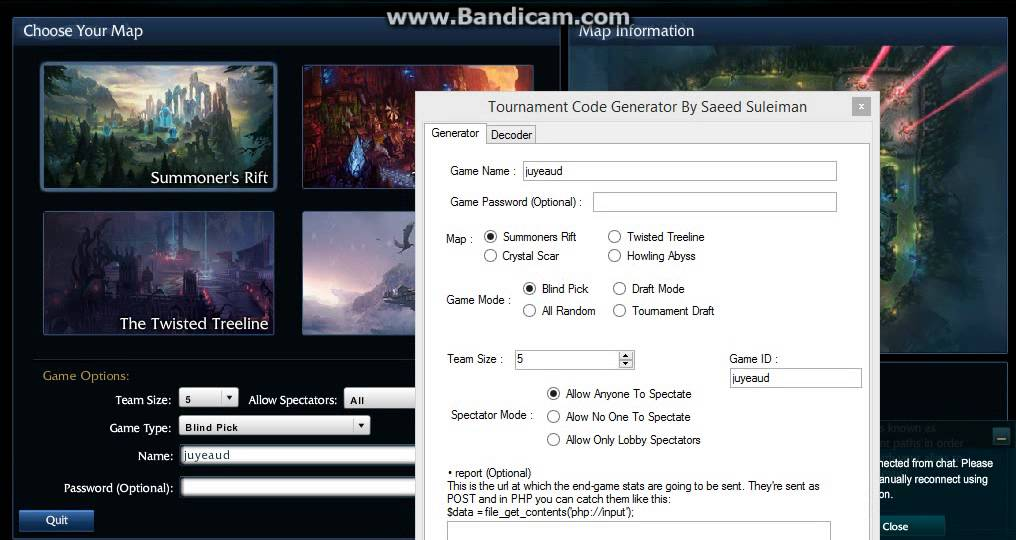 how to create tournament code league of legends