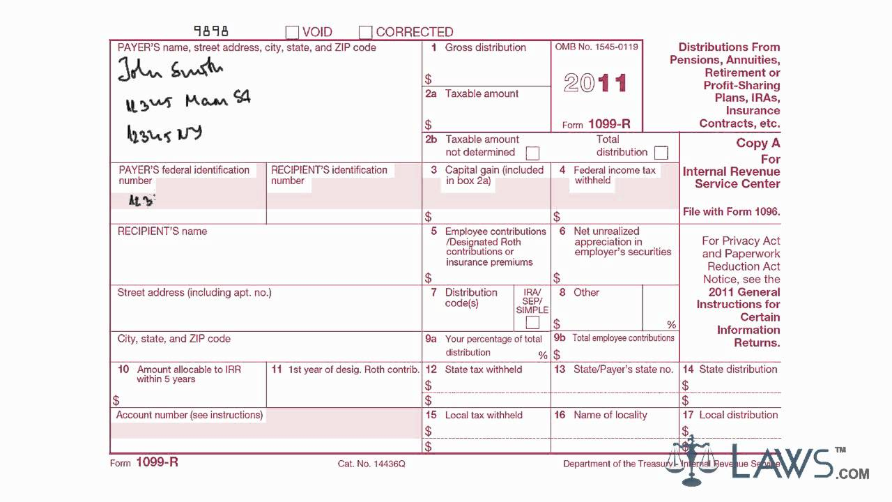sample 1099-r form filled out  Form 10 R
