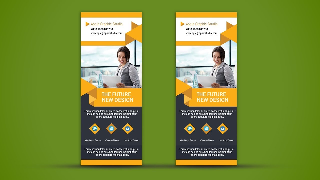 Business Roll Up Banner Design Photoshop Tutorial Apple