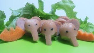 How to Make a Bento (#12  Elephant Sausage Cutting technique) ゾウさんでソーセージ弁当